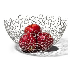 Spectrum Diversified Designs - Shapes & Flowers Fruit Bowl - Chrome - Display your fruits and vegetables in style with the Flower Shapes Round Fruit Bowl. The fun and interesting shapes make a delightfully modern piece that will add a whimsical touch to your home. Made of sturdy steel, this bowl is the perfect addition to your home whether you are serving bread rolls, storing fruits, or displaying decorative ornaments during the holidays.