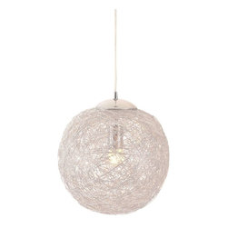 Zuo Modern - Zuo Modern Opulence Ceiling Lamp Aluminum - Like being in a cocoon of aluminum, the Opulence lamp's aluminum mesh shade envelopes the bulb creating a warm halo of light. The shade is aluminum and the base has a chrome finish. It is UL approved. The height is fully adjustable.
