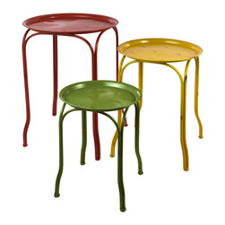 """Traders and Company - Faux Distressed Metal Red Yellow & Green Tables, Set of 3 - Lg = 17""""Dx24.5""""H - Brightly colored & whimsically faux distressed metalware inspired by 1950's designs. Hand-applied finish with an antiqued retro look. Alternate shapes & styles sold separately. Dimensions : Lg = 17""""Dx24.5""""H, Md = 14.25""""Dx20.5""""H, Sm = 12""""Dx15.25""""H"""