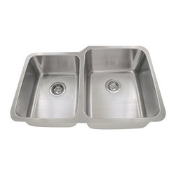 """MR Direct - Offset Double Bowl Stainless Steel Kitchen Sink - The 513R offset double bowl undermount sink is constructed from 304 grade stainless steel and is available in 16 gauge thickness. The surface has a brushed satin finish to help mask small scratches that occur over time and keep your sink looking beautiful for years. The overall dimensions of the 513R are  and a 33"""" minimum cabinet size is required. This sink contains a 3 1/2"""" offset drain, is fully insulated and comes with sound dampening pads. As always, our stainless steel sinks are covered under a limited lifetime warranty for as long as you own the sink."""
