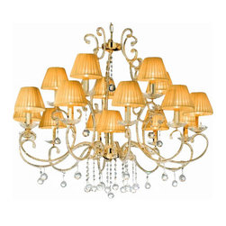 """Masiero - Masiero 8013 16 Chandelier - The 8013 16 Chandelier is part of a collection of High End light fixtures designed by Studio Stile Masiero in Italy for Masiero. This hanging lamp is a beautiful and harmonious piece that brings to classicism and modernism a new perspective. 8013 16 chandelier is an elegant light fixture consisting of a metal structure in gold-plated finish covered with delicate Asfour crystal pearls. This fixture can not be completed without little glass dishes that dress the branches suporting candle lights and elegant amber silk organza lampshades. Transparent drops that hang downwards from the lamp are a choice of Asfour or Strass Swarorvski crystals. This is a stylish and contemporary chandelier that will light up any environment. Illumination is provided by E14 60W Incandescent bulb (not included).      Product Details: The 8013  16 Chandelier is part of a collection of High End light fixtures designed by Studio Stile Masiero  in Italy for Masiero. This hanging lamp is a beautiful and harmonious piece that brings to classicism and modernism a new perspective. 8013 16 chandelier is an elegant light fixture  consisting of a metal structure in gold-plated finish covered with delicate Asfour crystal pearls. This fixture can not be completed without little glass dishes that dress the branches suporting candle lights and elegant amber silk organza lampshades. Transparent drops that hang downwards from the lamp are a choice of Asfour or Strass Swarorvski crystals. This is a stylish and contemporary chandelier that will light up any environment. Illumination  is provided by   E14 60W Incandescent    bulb (not included). Details:                         Manufacturer:            Masiero                            Designer:            Studio Stile Masiero                            Made in:            Italy                            Dimensions:                        Height: 33.5""""(85cm) X Diameter: 41""""(104cm)                                        """