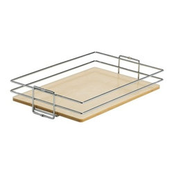 """Knape & Vogt Mfg. Co. - Wood & Wire Center Mount Pantry Basket, 8"""" W - Wood and wire center mount basket. Heavy-duty chrome plated wire basket with baltic birch plywood platform.  A variety of widths to suit your cabinets dimensions. 5""""W x 20-7/16""""D x 4-1/8""""H or 8""""W 11""""W 14""""W 17""""W or 20""""WIntended to be mounted on this Pantry Pullout."""