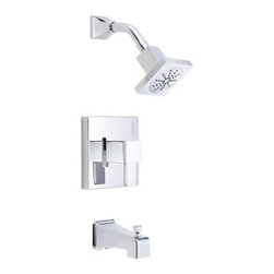 """Danze - Danze Reef Trim Only Single Handle Tub & Shower Faucet - Chrome - Features All brass 6"""" shower arm USE WITH VALVE: D112000BT (w/ stops) or D115000BT (w/o stops) or D112500BT (w/ stops) or D115500BT (w/o stops) Valve not included, must order separately Features 4"""" square showerhead D460049 Diverter on spout View Spec Sheet"""