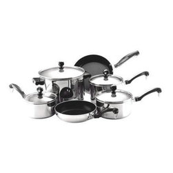 Farberware Cookware - Farberware Classic Stainless Steel 10 Pc. Set - Farberware Classic 10 PC Set. Includes: 1 Qt., 1.5 Qt. and 2 Qt. Covered Saucepans, 5.5 Qt. Covered Saucepot, 7'' and 9'' Nonstick Aluminum Skillets.  NOTE: 7'' and 9'' Skillets are not suitable for ceramic stove tops.