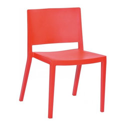 Mod Made Furniture - Mod Made Elio Chair in Red, Set of 2 - The Elio Chair is sure to stir up some nostalgia from grade school years of yonder. Comprised of the sturdiest plastic these chairs come stackable and in a variety of colors to fit your fancy. The vibrant shades are a quick fix for any dull room or children's den.