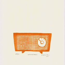 """""""Lifeline (Radio) - burnt orange"""" Artwork - Lifeline (Radio) is a linoleum cut print of a retro, old radio. This print was inspired during Hurricane Sandy, in New York, when for many people the radio became a lifeline to the outside world.  Hand carved and hand block-printed in Brooklyn, NY.  Printed using archival quality, oil-based printmaking ink on high quality printmaking paper.   Each print is signed and dated by the artist, packaged in a plastic sleeve and shipped with great care in a bend-proof mailer. As these are hand-printed originals, each one will vary, adding to the unique quality of hand-pulled prints."""