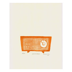 Lifeline (Radio) - Burnt Orange, Limited Edition, Hand Printed Work - Lifeline (Radio) is a linoleum cut print of a retro, old radio. This print was inspired during Hurricane Sandy, in New York, when for many people the radio became a lifeline to the outside world.  Hand carved and hand block-printed in Brooklyn, NY.  Printed using archival quality, oil-based printmaking ink on high quality printmaking paper.   Each print is signed and dated by the artist, packaged in a plastic sleeve and shipped with great care in a bend-proof mailer. As these are hand-printed originals, each one will vary, adding to the unique quality of hand-pulled prints.