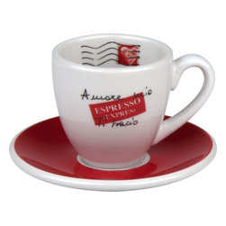 Konitz - S/4 Espresso Cups and Saucers-Amore Mio - Start your mornings with a strong espresso that tastes as good as it looks in this cup and saucer set. The red, white and black design says all there is to say about your love for good coffee.