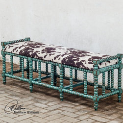 "Uttermost - Chahna Cushioned Bench - Aqua Blue Finish On Solid, Plantation Grown Mango Wood With Cushioned Seat In Plush, Dark Chocolate And Milky White Velvet. Uttermost's Ottomans Combine Premium Quality Materials With Unique High-style Design. Bulbs included?: NO; Overall Dimensions: 18""D x 62""W x 19""H"