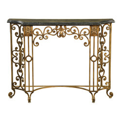 Ambella Home - Valencia Console Table - Tasteful opulence for your traditional home. The ornate, hand-forged iron base of this gorgeous console table is topped with beautiful, black fossil stone featuring golden agate fossil stone inlay. Enchant your guests with this exquisite console table in your foyer, or create a dazzling display for your living room or hallway.