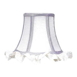 Jubilee Collection - Chandelier Shade - Ruffled Edge - Lavender/White - Material: silk, metal. 3 x 5 x 4 in.