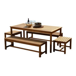 "Charleston Teak Dining Set - This Charleston Teak Dining Set includes 1 72"" Brunswick Table, 2 6' Backless Benches and 2 2' Backless Benches."