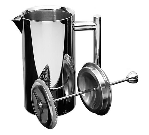 Frieling - French Press, Mirror Finish, 18/10 stainless steel, 10 oz. - Superior quality, double-wall insulated: 18/10 stainless steel retains heat 4 times longer than a glass press.  All steel mesh plunger mechanism. Built to stand the test of time. Should replacement parts ever be needed, they are available. All parts are dishwasher safe; no need to disassemble.