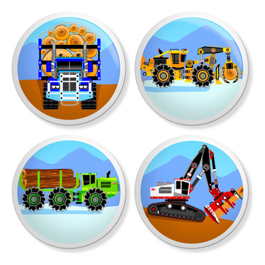 New Speed Limit - Set of 4 Dresser Drawer Knobs/Pulls Hardware - Forest and Heavy Equipment Trucks - Give your child's bureau a quick and inexpensive do it yourself makeover with bright, bold colored themed white ceramic drawer pulls/knobs. Our custom-made knob sets screw on easily to most flat faced drawer fronts in minutes! Your kids will love one of our many cool, detailed, and fun designs. You will love the traditional, easy to grab, clean, and round shape with no sharp edges. Perfect! Each 4 Pack contains 4 1 1/2 inch bright ceramic knobs with a 1 1/4 inch long Phillips head screw. Please check out all of our different designs.
