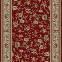 "Concord Global - Concord Global Ankara Floral Garden Red  3'11"" x 5'5"" Rug (6220) - The Ankara collection is made of heavy heat-set olefin and has the look and feel of an authentic hand made rug at a fraction of the cost. New additions to the line include transitional patterns that are up to date in the current fashion trend. Made in Turkey"