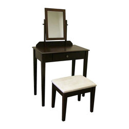 ORE International - Transitional Make-Up Vanity Table Set w Mirro - Includes vanity table, mirror and matching cushioned stool. Spacious rectangular table top with one drawer. Designed to last for years. Cabriole legs for support. Matches design on padded, upholstered stool. 30 days warranty. Made from strong wood and wood composite. 28 in. L x 16 in. W x 50.5 in. H (40 lbs.)This product is crafted to be practical and stylish. Bring a timeless traditional style into your bedroom with this vanity set. With a wide tabletop, drawer space, a stylish seat and a large mirror, there is no better spot to place your feminine odds and ends than on this bowed top ladies vanity. You can also conveniently store your accessories in its drawer. With its simple yet beautiful design, this bedroom furniture spells style and classic sophistication. You will enjoy lingering on this vanity drawer as you beautify yourself in the morning.