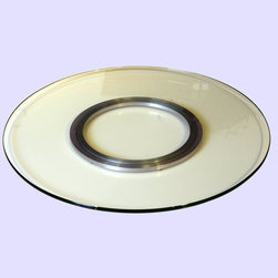 """Chintaly Imports - 24"""" Round Glass Lazy Susan Spinning Tray - Features: Sleek, elegant design for tabletop use; 24 inch diameter; Clear glass design; Smooth swivel action; Fine-looking centerpiece for a dining table; Contemporary Design; Suitable for Home or Office Usage; Dimensions: 24""""W x 24""""D x 1.5""""H"""