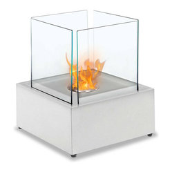 Sevilla Table Top Ethanol Fireplace - White
