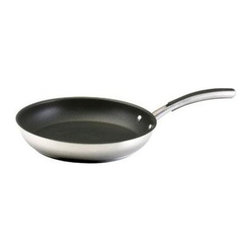 """Farberware Cookware - FW Millennium SS 12"""" Skillet - Millennium Stainless Steel 12"""" Skillet has a sloped sides so that foods slide out easily. This large size is ideal for cooking omelets  pancakes  quesadillas  sauteing vegetables  searing steaks  fish and poultry. The nonstick surface makes cleanup effortless.   Silicone enhanced stainless steel handles are riveted securely to the pan and comfortable to hold - oven safe to 400 degrees F; Sleek  contemporary styling  polished stainless steel construction  and see-through glass lid An 18/0 stainless protector surrounds the thick aluminum base   and suitability for induction stovetops; Dishwasher safe.   ."""