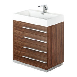 """Fresca - Livello 30"""" Walnut Vanity w/ Medicine Cabinet Cascata Brushed Nickel Faucet - The Livello 30"""" vanity features four pull out drawers that come equipped with slow closing hinges.  Its sink is made with a durable acrylic material that is less likely to break then tradition ceramic, it also cleans better.  This vanity's minimal design will make your bathroom feel like a modern oasis.  Many faucet styles to choose from."""