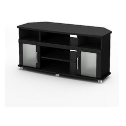 "South Shore - City Life 47"" Corner TV Stand - Curved shapes, metal accents, frosted glass, and an original contrast finish all add to the popularity and uniqueness of this City Life TV Stand. It combines form and function to perfection. This TV stand that can accommodate LCD and plasma televisions up to 40"" is designed to be placed in a corner to help you make the most of your space. With the City Life TV Stand your living room will never seem so organized! Features: -City Life collection. -Designed to be placed in a corner to help you make the most of your space. -Manufactured from laminated particle board. -Open space in the back for easy and neat wire management. -Three storage compartments perfect for living room electronics (e.g., satellite receiver, DVD player, video game console). -Accommodate LCD and plasma televisions up to 40"". -5 Year manufacturers limited warranty. Protecting our Environment for Generations to Come! South Shore Furniture is proudly taking a stand on its environmental positioning and is supporting its words with very concrete actions and a vision for a healthy future. Current actions include: -Improved packaging  Our new packaging use 60% less non-biodegradable materials. -Energy efficiency  Yearly, 5 to 6 tons of wasted paneling are converted into energy used internally. -Environmentally Preferable Product (EPP) certification Already meeting the very strict 2009 California Formaldehyde Regulations. -Greener communication tools  Reduced format on recycled paper and conversion to electronic format. -A Green Future in mind: a member of the Composite Panel Association whose mission is to work towards more ecological and environment-friendly panel solutions."
