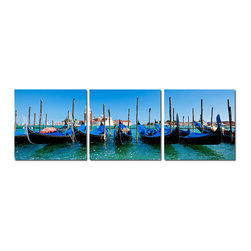 "Baxton Studio - Baxton Studio Gondola Fleet Mounted Photography Print Triptych - After many a romantic ride through Venice??????s Grand Canal, these parked gondolas would have quite the amorous story to tell, should they be able to speak. The promise of yet another lovestruck couple beckons in this photograph, divided into three and printed on waterproof vinyl canvas sheets for your viewing pleasure. Each section of the image is applied to its own MDF wood frame, all of which are fully assembled and ready for hanging. The photography triptych is made in China and does not include mounting hardware. To clean, we recommend dry dusting.Dimensions (each): 20""H x 20"" W x 1"" DD"