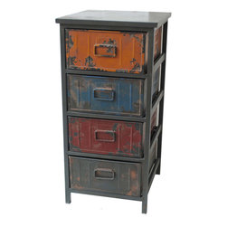 None - Small Storage Cabinet - Crafted of iron and wood with multicolored distressed painted surfaces,this cabinet contributes a trendy vintage look to your home or patio. The cabinet is equipped with four drawers that offer you useful storage space.