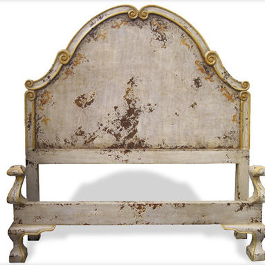 Beds - A simplistic design contrasted with an ornate foot board, a hand painted distressed finish with scrolls, and a scroll accented headboard. You can see more furniture and accessories at a local Houston showroom!