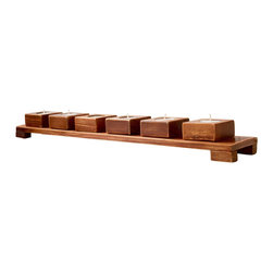 7-Pc. Tea Light Table - Enjoy the warm glow of tea lights from this rustic, yet elegant display. Six individual wooden candle holders run the length of the matching mini table.