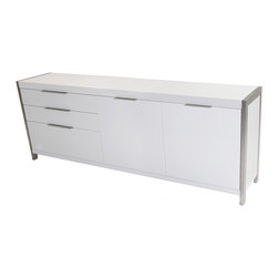 Tolstoy Sideboard - No one has suffered from too much storage space. The Tolstoy Sideboard offers up a good deal of that as well as a chic, modern design aesthetic and a compact profile. Three drawers and a generous covered cabinet provides lots of room for stashing this and that. A fun contemporary vibe comes from high-quality particleboard in a clean white finish and sleek polished stainless steel frame and accents. Solve your storage issues in style.