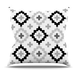 "Kess InHouse - Pellerina Design ""Black White Moroccan"" Grey Geometric Throw Pillow (26"" x 26"") - Rest among the art you love. Transform your hang out room into a hip gallery, that's also comfortable. With this pillow you can create an environment that reflects your unique style. It's amazing what a throw pillow can do to complete a room. (Kess InHouse is not responsible for pillow fighting that may occur as the result of creative stimulation)."