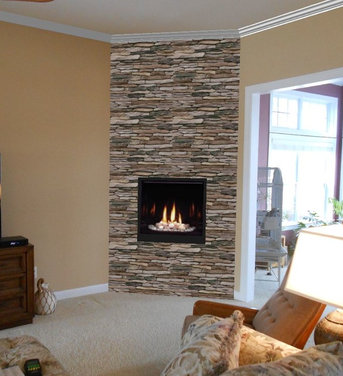 Before amp After Modern Direct Vent Fireplace With Stone Veneer