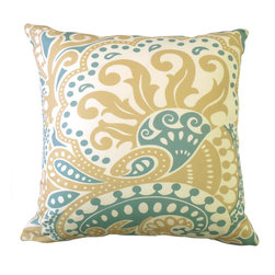 """kee design studio - Floreado Pillow, Mineral - """"Floreado"""" is an original pattern by Kee Design Studio, inspired by a 1970's silk scarf found at a flea market in Paris. It is printed on a lovely cotton/linen blend fabric, has a knife-edge finish, and an invisible zipper. It features a full and fluffy 10/90 white goose down insert. Designed, printed, and made with love in the USA!"""