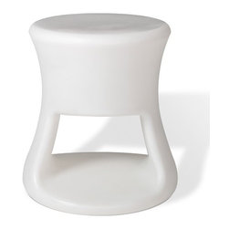 """Offi - Tiki Kid's Stool - Inspired by Tiki mugs from the 60's, these adorable Tiki stools are too charming to pass up. Extremely versatile the Tiki stool is great for both adults and children. An ideal compliment to a modern decor, the Tiki Stools can be used as side stools or barstools. With clean, simple design and bright color options, the Tiki stools are sure to become a quick favorite in your home. Features: -Perfect for children and adults.-Product Type: Stool.-Collection: Tiki.-Distressed: No.-Gloss Finish: No.-Frame Material: Rotationally molded polyethylene.-Weather Resistant or Weatherproof: Yes.-Water Resistant or Waterproof: Yes.-Arms Included: No.-Upholstered Seat: No.-Upholstered Back: No.-Rocker: No.-Swivel: No.-Glider: No.-Reclining: No.-Footrest Included: No.-Stackable: No.-Foldable: No.-Inflatable: No.-Legs Included: No.-Casters: No.-Storage Area: Yes.-Cupholder: No.-Skirted: No.-Ottoman Included: No.-Adjustable Height: No.-Age Recommendation: Kids or adults.-Outdoor Use: Yes.-Seating Capacity: 1.-Swatch Available: No.-Recycled Content (Finish: White): No.-Recycled Content (Finish: Pink): No.-Recycled Content (Finish: Orange): No.-Recycled Content (Finish: Green): No.-Recycled Content (Finish: Blue): No.-Recycled Content (Finish: Black): Yes -Total Recycled Content (Percentage): 10% recycled/reground plastic..-Convertible: No.Dimensions: -Overall Height - Top to Bottom: 15.5"""".-Overall Width - Side to Side: 13.5"""".-Overall Depth - Front to Back: 13.5"""".-Seat Height: 15.5"""".-Storage: -Storage Area Height: 7"""".-Storage Area Width - Side to Side: 13.5"""".-Storage Area Depth - Front to Back: 13.5""""..-Overall Product Weight: 9 lbs.Assembly: -Assembly Required: No.-Additional Parts Required: No."""