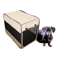 Buffalo Tools - Sportsman Series Portable Pet Kennel For Small Size Dogs - Portable Pet Kennel For Small Size Dogs by Sportsman Series The Sportsman Series Portable Pet Kennel offers a lightweight and convenient way to keep your pets safe and secure while traveling, camping, or at home. The pop up design sets up in the blink of an eye, then easily collapses and folds into a carrying case for convenient storage. The soft-sided design is strong, durable, weather resistant, and comfortable for man's best friend. The mesh windows and zipper door offers lots of space for ventilation. Hook and loop fasteners help keep kennel stationary on carpeted surfaces. Pop-up design is perfect for traveling, camping and home For small size dogs weighing under 40 lbs. Overall size: 30.5 in. L x 20 in. W x 21.5 in. H Water resistant 600D construction with wire frame Easily collapses into a soft-sided carrying case for convenient storage