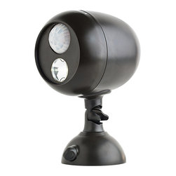 Wireless Motion Sensor LED Spotlight by Mr Beams - Mr Beams battery-powered LED Spotlight provides wireless, motion activated illumination for any dark outdoor areas. Installs quickly in under 5 minutes for safety, security, and peace of mind without the need of an electrician. Ideal for a variety of residential applications such as entrances and exits, patios, decks, yards and walkways.