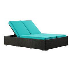 "LexMod - Evince Outdoor Patio Chaise in Espresso Turquoise - Evince Outdoor Patio Chaise in Espresso Turquoise - Fuse together balanced portrayals with the Evince Chaise Lounge. Bring a tangible expression to your outdoor porch or pool setting from heightened perspectives. With a dual-adjustable upper portion and cushions on an espresso rattan base, demonstrate your objectives while holding onto guarded elegance. Set Includes: One - Evince Two -Seater Outdoor Wicker Patio Chaise Recliner Synthetic Rattan Weave, Powder Coated Aluminum Frame, Water & UV Resistant, Adjustable Recline/Incline (as shown), Machine Washable Cushion Covers, Ships Pre-Assembled Overall Product Dimensions: 79""L x 47""W x 14""H Seat Height: 14""H Cushion Depth: 4""H - Mid Century Modern Furniture."