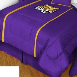 Sports Coverage - Louisiana State Tigers Bedding - NCAA MVP Micro Suede Comforter - Full - The MVP Micro Suede Collection is unique in its appeal to both young and more mature tastes. Sporting team colors with a soft leather looking stripe. The best part of this new look is its ultra soft and washable faux suede fabric which is perfect for bedding because it stays soft. Color fast and wrinkle-free.   Show your team spirit with this great looking officially licensed University of Louisiana State Tigers MVP Micro Suede comforter. This MVP Comforter is made from ultra soft and washable faux suede fabric reverse to a gray and white cotton blend with generic college print to give your athlete full coverage.Your teams logo is fabricated in bright and bold applique or embroidery on a dual-fabric microsuede and jersey comforter with sporty double porthole jersey edging. Ultra soft and machine washable, 100% polyester top reverses to a solid 100% polyester jersey.The Comforter is reversible to a Solid Jersey. A Soft but durable. Wash in cold water and tumble dry in low heat.