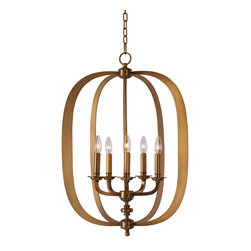 Maxim Lighting - Maxim Lighting 22373NAB Fairmont Natural Aged Brass Pendant - 5 Bulbs, Bulb Type: 60 Watt Incandescent