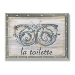 Stupell Industries - Grey Double Scroll La Toilette Bath Plaque - Made in USA. Ready for Hanging. Hand Finished and Original Artwork. No Assembly Required. 15 in L x 0.5 in W x 10 in H (2 lbs.)What better way to add class to your home than with a wall plaque from the Stupell Home Decor Collection? Made in the USA and featuring original artwork,you are sure to find the perfect match for wherever you are looking to design. Each plaque comes mounted on sturdy half inch thick mdf and features hand painted edges.  It also comes with a sawtooth hanger on the back for instant use.