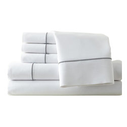 1000 thread count 6-piece sheet set   Queen White/Graphite - Enjoy the luxury and style of the super soft 1000 bed sheets with super soft comfort. These beautiful super soft sheet sets feel great, look great, and launder like a dream. The 1000 Super Soft sheet sets made from super soft brushed polyester micro fiber have the comfort, feel, luxury, and softness of 1000 thread count Egyptian Cotton. Full, Queen and King size sheet sets with deep pockets that fit today's extra thick mattresses.