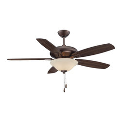 "Savoy House Lighting - Savoy House Lighting 52-831-5RV-35 Mystique 52"" Transitional Ceiling Fan - Mystique is a rich, intriguing contemporary look that's perfect for your ceiling. This Savoy House  fan features 5 blades in reversible finishes (chestnut and teak or teak and walnut) and a polished nickel or Byzantine bronze finish. The light kit, boasting a dome in white or cream frosted glass, is included."