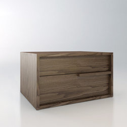 Jane Contemporary & Modern Nightstand by ModLoft - The Jane double-drawer nightstand features a sleek design accentuated by thin handgrips. European soft-closing glides enable effortless drawer movement. Interior of drawers elegantly lined in light beige linenboard. Available in wenge or walnut wood finishes. Also available in white lacquer finish. No assembly required. Imported.