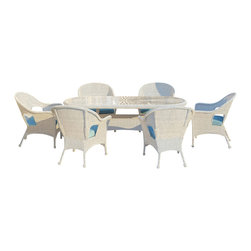 Forever Patio - Rockport 7 Piece Round Wicker Patio Dining Set, Air Blue Cushions - Turn your patio into a sophisticated dining area with the classic design of the 7 Piece Rockport Dining Set (SKU FP-ROC-7DN-WH-AB). The set seats 6 adults and includes 6 lounge chairs and a dining table with a glass top. The round White wicker strands in this set give it a crisp, traditional look designed to last. Every strand of this wicker is made from High-Density Polyethylene (HDPE) and is infused with its brilliant color and UV-inhibitors that prevent cracking, chipping and fading ordinarily caused by sunlight. The set is supported by thick-gauged, powder-coated aluminum frames that make it extremely durable and resistant to corrosion. Also included are cushions covered in fade- and mildew-resistant Sunbrella fabric.