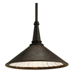 Currey and Company - Manuscript Pendant - This one light pendant takes the form of a classic industrial pendant lighting fixture. The surprise is found in the antiqued mirror glass that is fitted piece by piece inside the shade to make an elegant reflector. A Black Smoke finish gives an authentic look to the exterior metal shade.