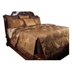 Wasatch King Coverlet Set - Embroidered Fern leaf pattern on Light Brown give this set a elegant outdoors feel.