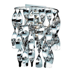 Elk Lighting - Odyssey Modern Chrome and Faceted Leaded Crystal Wall Sconce - A piece designed for only the most distinguished spaces. Odyssey tenders carefully faceted 32 percent leaded crystals that are set within delicately formed chrome plated metal strips. The merging of these two modish materials offers the onlooker a mesmerizing luminary experience that will please the senses. When illuminated, light reflects against the crystal and polished chrome finish displaying a rich color spectrum and visual motion while inert. Although Odyssey is absolutely stunning as a soloist, a pair creates an ambient setting like no other.