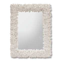 Kathy Kuo Home - Gardenia White Coral Coastal Beach Mirror - Large and luminous, this textured white coral sculpted mirror has natural beauty and intricate lines. Cast from stone, the generously-sized, graceful frame surrounds a rectangular glass. The bold, bright mirror is elegant in a Coastal Beach cottage or a modern master suite.