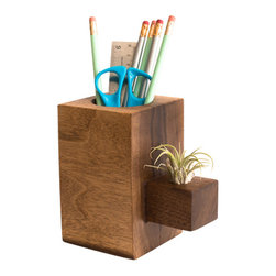 "Few Bits - Pencil Holder/Tillandsia Holder Combo - Want to add a bit of green to your desk but you have a brown thumb? Then this pencil holder with a little sidecar is for you. Both functional and stylish, it holds not only your pens and pencils, but a lovely Tillandsia plant as well. Tillandsia, or ""air plants"" need no soil to stay alive. Simply soak them in water for 30 mins once a week."