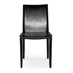 Inmod - Mia Leather Chair (Set of 4), Black - For a complete, sleek color experience in a modern dining chair, you can't go wrong with the Mia Leather Chair, which is completely clad, toptotoe, in bonded leather.